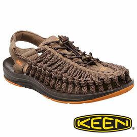 Keen UNEEK FLAT 男 編織款拉繩涼鞋 卡其/橘 1014980