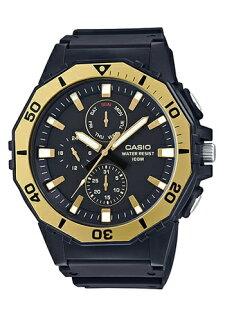 CASIOMRW-400H-9A大錶徑指針日期星期腕錶黑金53mm