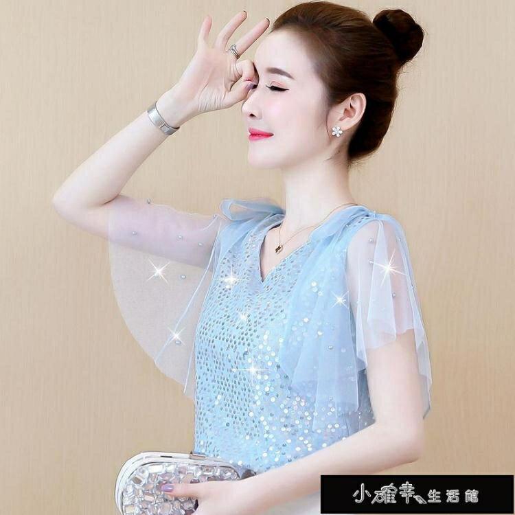 時尚夏季雪紡襯衫女裝休閒新款潮流很仙的上衣洋氣短袖超仙女 摩可美家