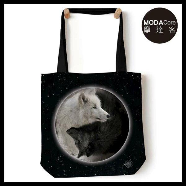 【摩達客】(預購)美國TheMountain陰陽狼藝術環保托特包