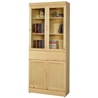 書櫃 《Yostyle》歐文松木中抽書櫃 有門書櫃 大型書櫃 收納櫃 展示櫃 置物櫃 收納櫃