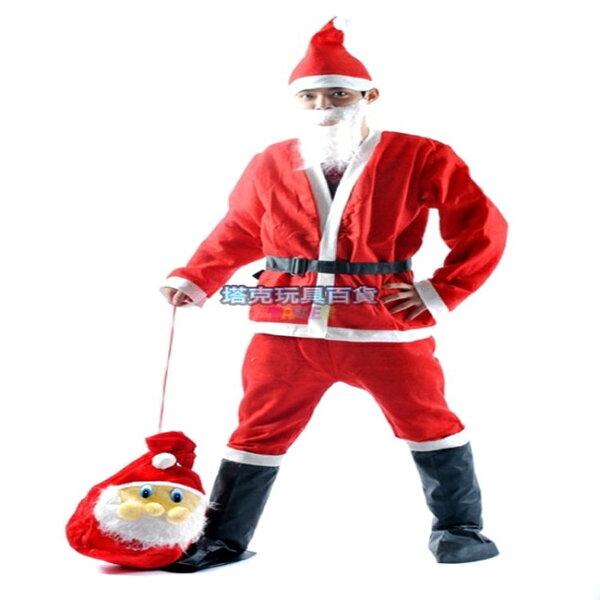 塔克玩具百貨:聖誕節耶誕節聖誕服劇系聖誕服成人男套裝(5件組)耶誕服裝表演服裝聖誕節服裝【塔克】