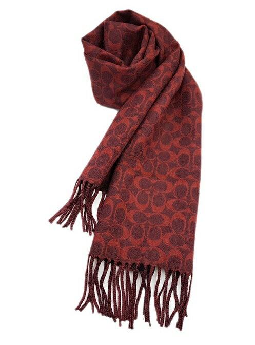 COACH 經典滿版LOGO 純羊毛披肩圍巾 (紅LOGO) 預購 1201