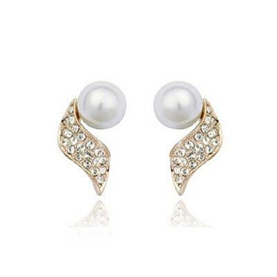 玫瑰金耳環925純銀鑲鑽耳飾~ 唯美氣質七夕情人節 女飾品2色73gs109~ ~~米蘭