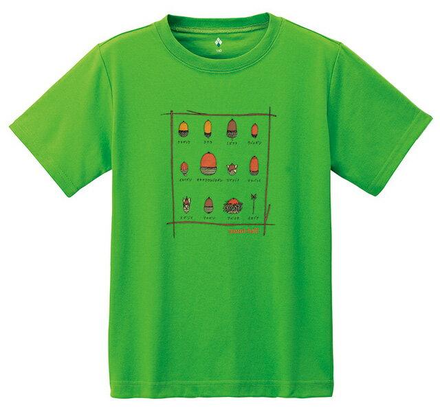 【mont-bell 日本】WICKRON 橡子短袖排汗衣 排汗T恤 機能衣 橡子 純綠色 兒童款(130-150cm)/1114187