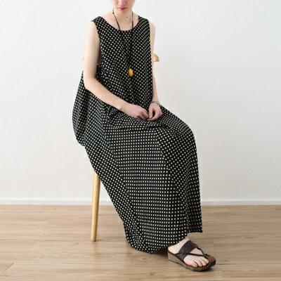 連身長裙寬版連衣裙-清新復古波點無袖女上衣73sm39【獨家進口】【米蘭精品】