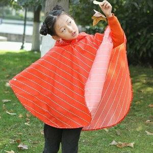 美麗大街【BF581E3】SAFEBET韓版戶外便攜加厚帶帽斜紋雨衣兒童款