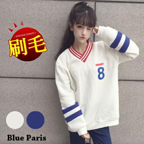 上衣 - V領條紋內刷毛運動風長袖T恤【29199】藍色巴黎 《2色》現貨 + 預購 0