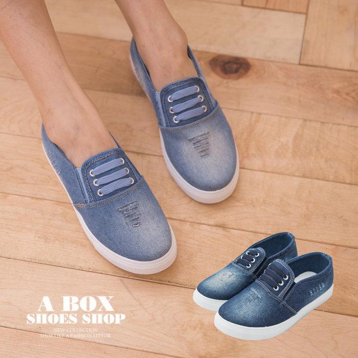 【AW357】嚴選中性流行單品 造型鞋帶 牛仔布刷白破壞 帆布布面鞋 懶人鞋 2色 0