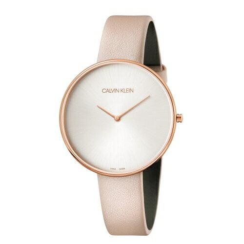 Calvin Klein CK優雅月光粉色皮帶腕錶(K8Y236Z6)42mm