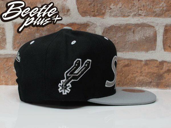 BEETLE MITCHELL&NESS NBA 聖安東尼奧 馬刺 SPURS 黑灰 草寫 SNAPBACK 後扣棒球帽 1