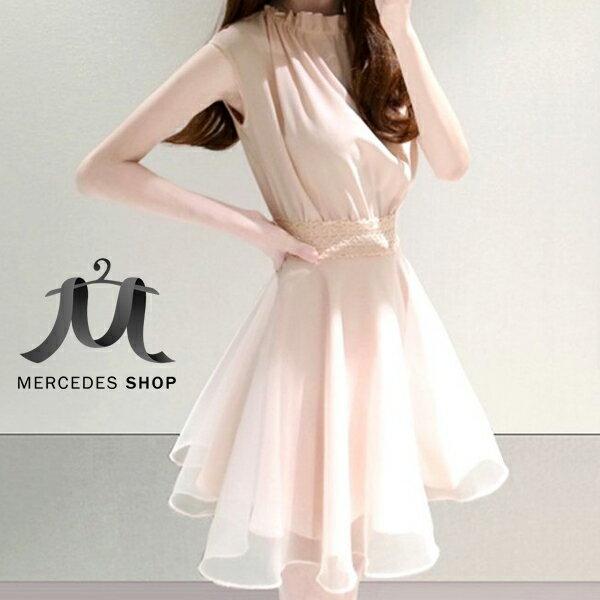 [全店7折] 浪漫裙擺歐根紗無袖洋裝 (S-XL,共4色) - 梅西蒂絲