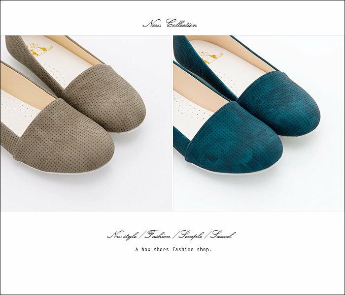 格子舖*【AW529】*限時免運* MIT台灣製 素面透氣皮革 豆豆鞋 圓頭包鞋 娃娃鞋 4色 2