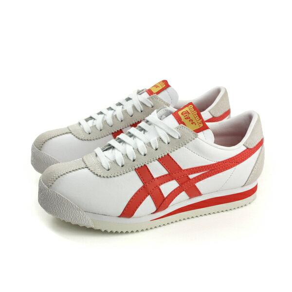 HUMAN PEACE:OnitsukaTigerTIGERCORSAIR運動鞋皮質舒適白紅女鞋D7J4L-0122no274