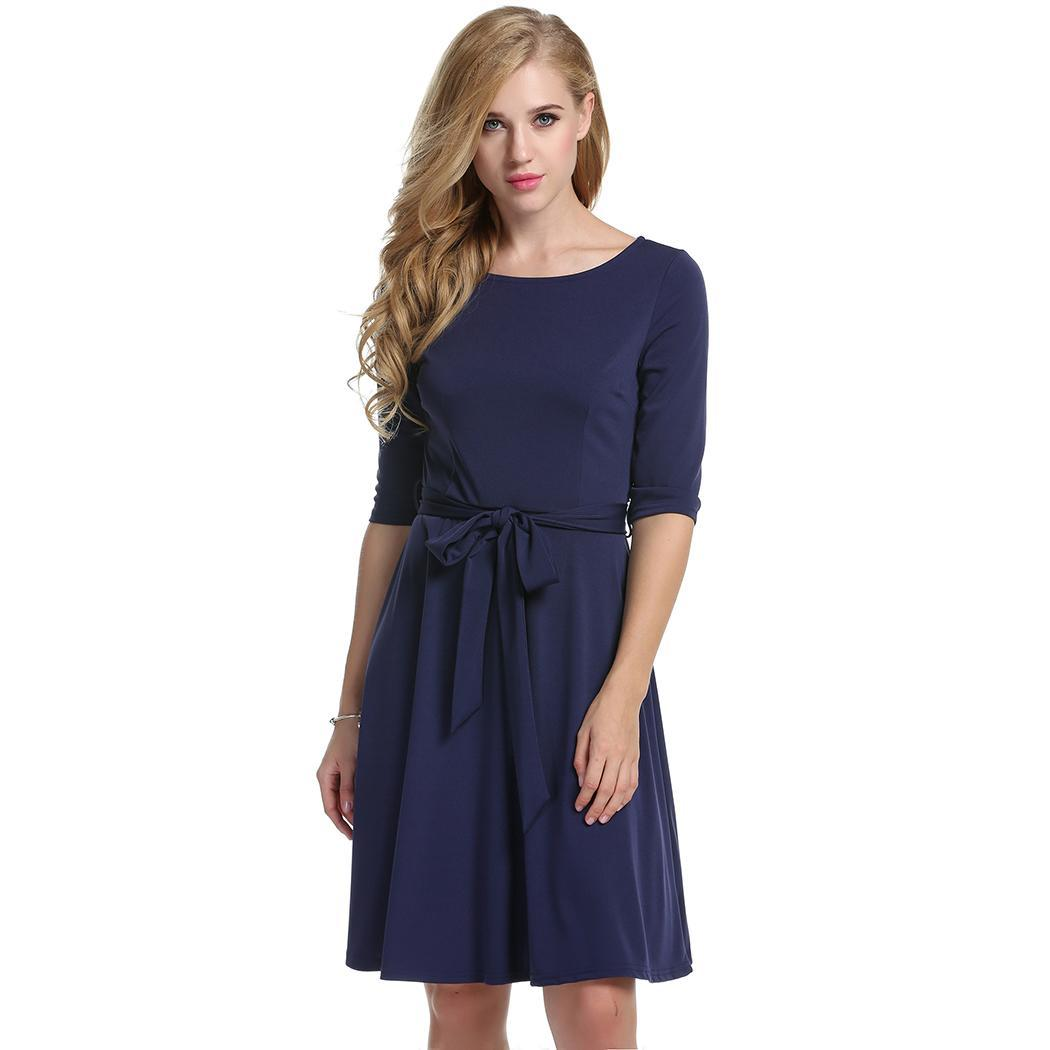 Women Casual O-Neck Solid Pleated Dress with Belt 3