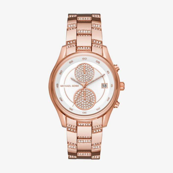 美國百分百【Michael Kors】手錶 MK6479 配件 MK 女錶 兩眼計時 不鏽鋼 水鑽 粉紅玫瑰金 I457