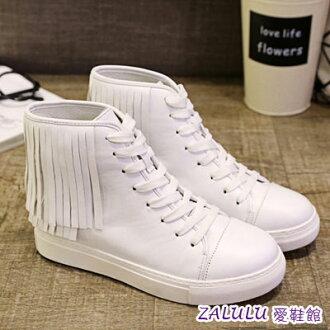 ☼zalulu愛鞋館☼ IE188 預購 日韓新款流蘇元素綁帶休閒平底高筒布鞋-偏小-白/黑-36-39