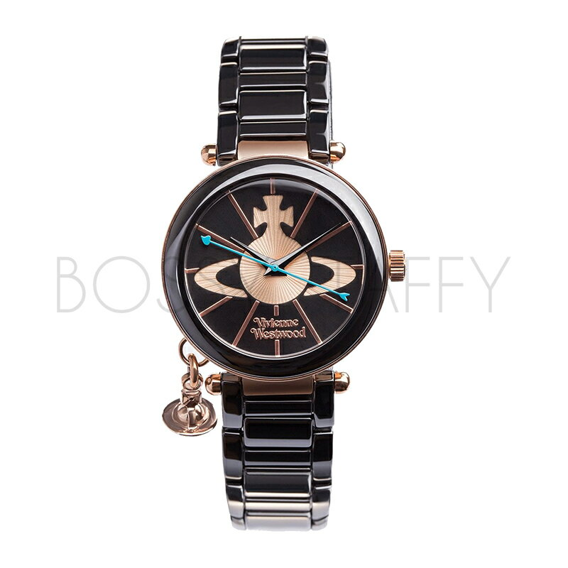 Vivienne Westwood 立體星球logo墜飾黑色陶瓷腕錶 VV067RSBK Kensington Swiss Quartz Black Watch