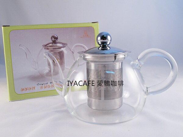 《愛鴨咖啡》FH-730X 可直火 耐熱 玻璃 花茶壺 內含不銹鋼濾網700ml