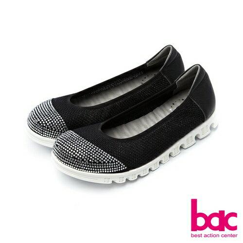 【bac】運動時尚-鞋頭燙鑽拼接透氣網狀布料休閒鞋-黑色