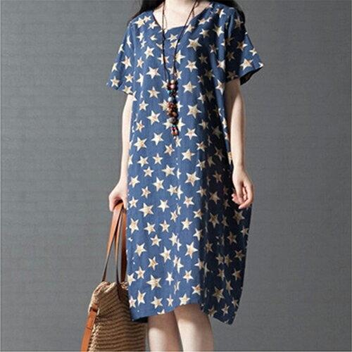 《夏出清任選2件_一件299》森系五角星棉麻亞麻連身裙 (2色,M~XL) - ORead 自由風格