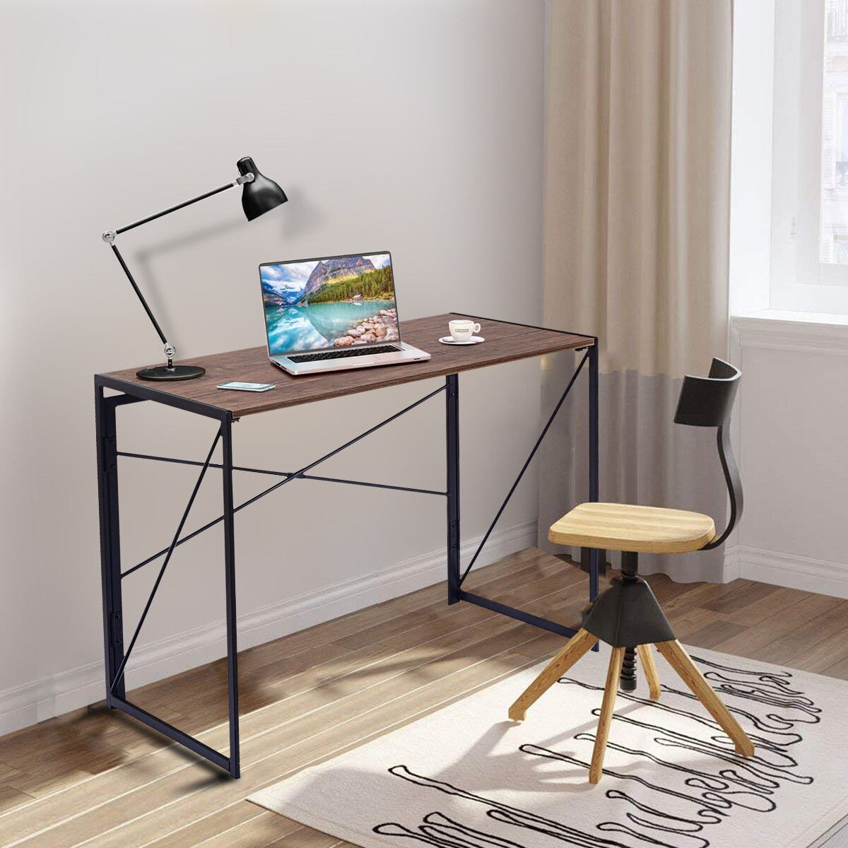 Simple Modern Office Desk Portable Computer Desk Home: Costway: Costway Folding Writing Computer Desk Modern