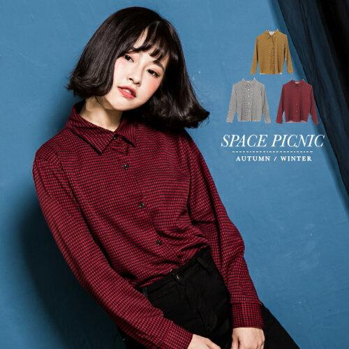 長袖 襯衫 Space Picnic|現貨.經典千鳥格長袖襯衫【C17103075】