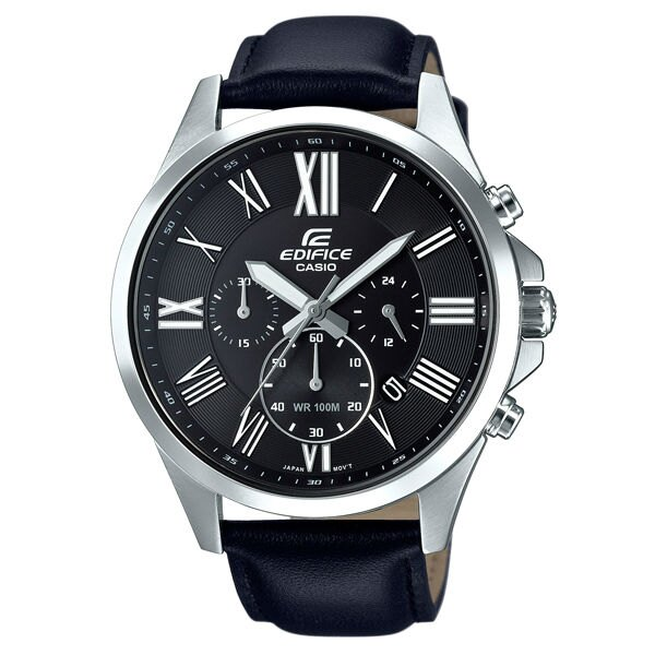 CASIO EDIFICE EFV~500L~1A大錶徑羅馬 腕錶  黑面47.2mm