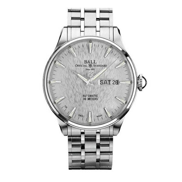 BALL 波爾錶NM2080D-SJ-SL Trainmaster質感髮絲紋面機械腕錶/白面40mm