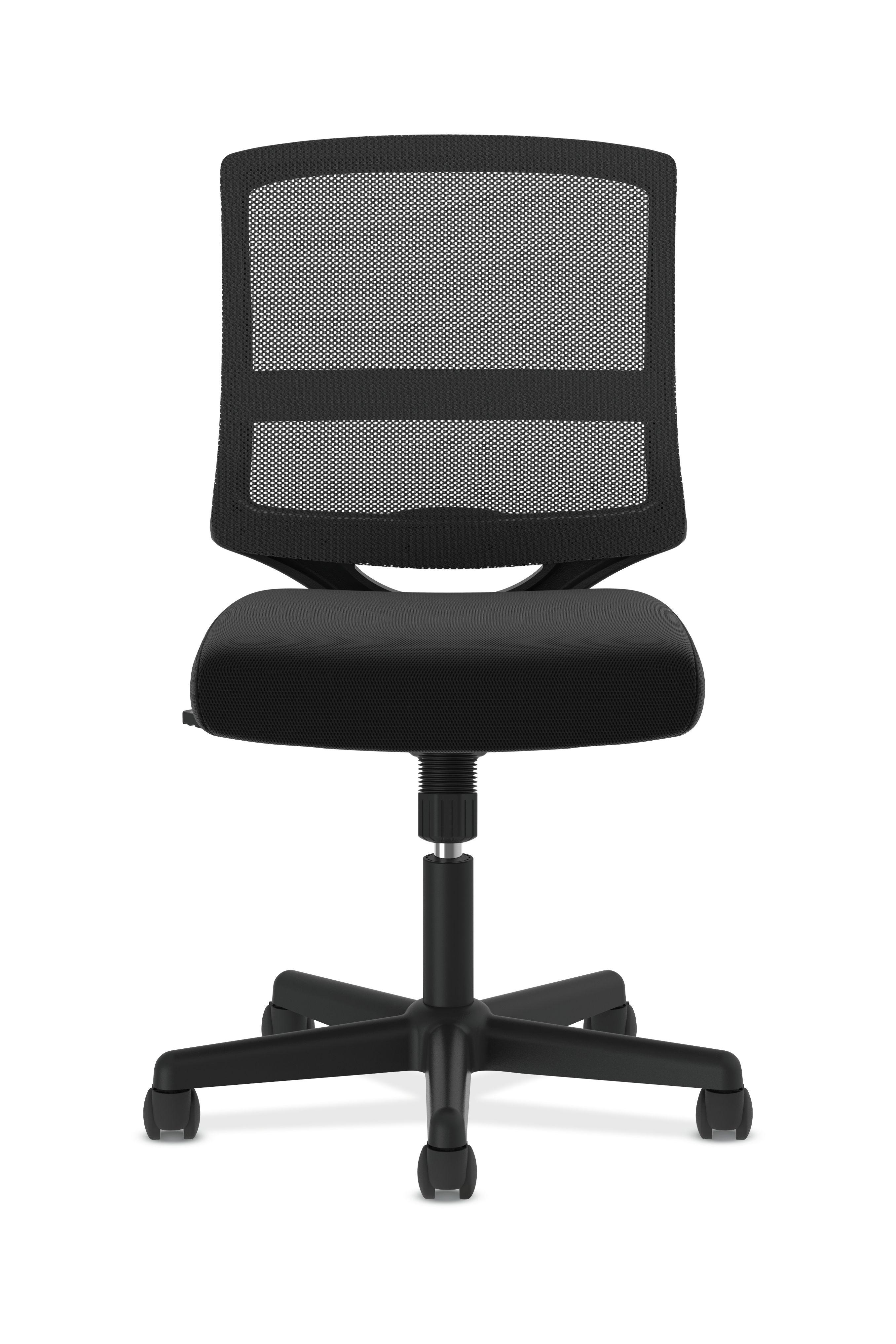 Genial HON ValuTask Mid Back Mesh Task Chair, Armless Black Mesh Computer Chair  (HVL206)