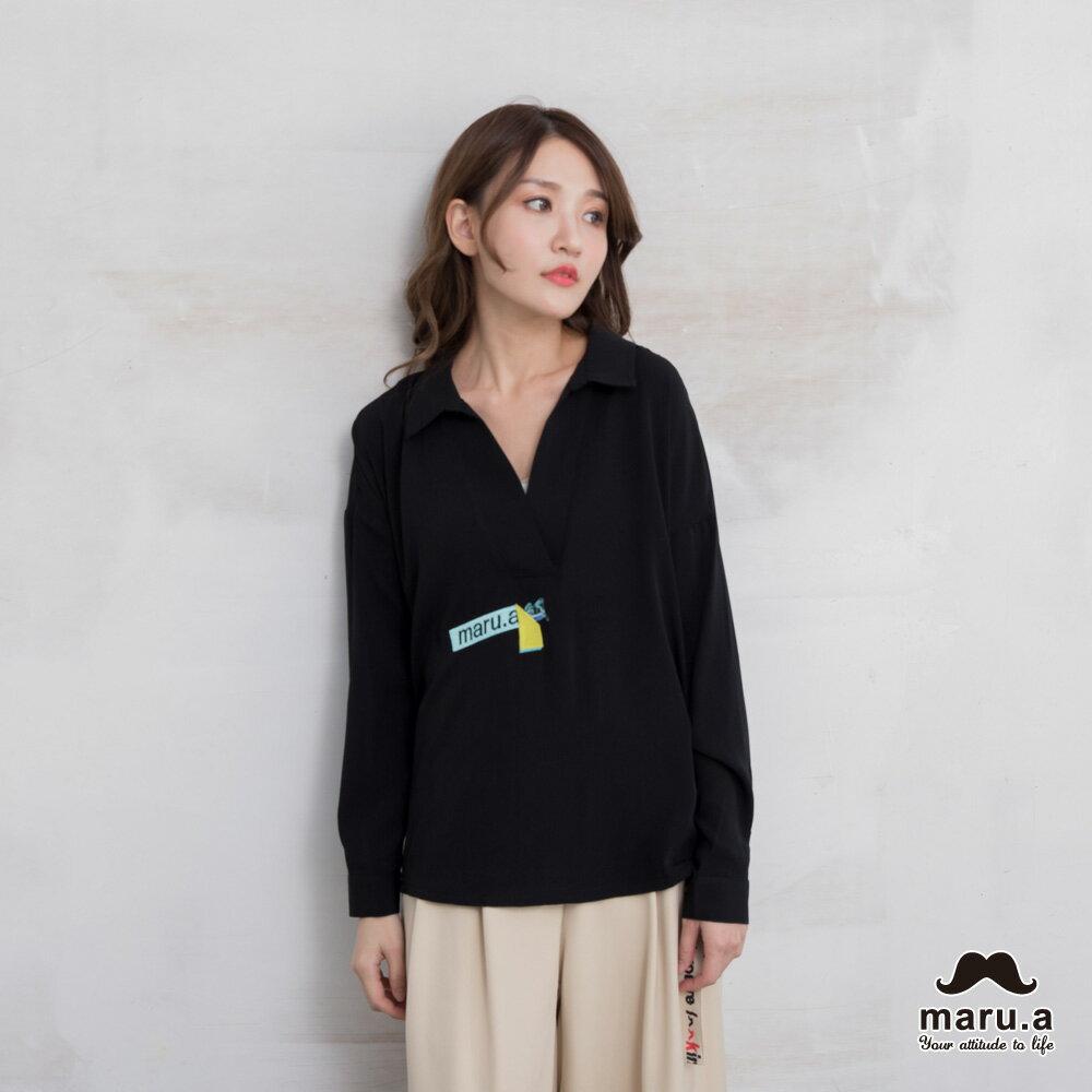 【maru.a】烏龜躲貓貓刺繡低領襯衫(2色)7923114 4