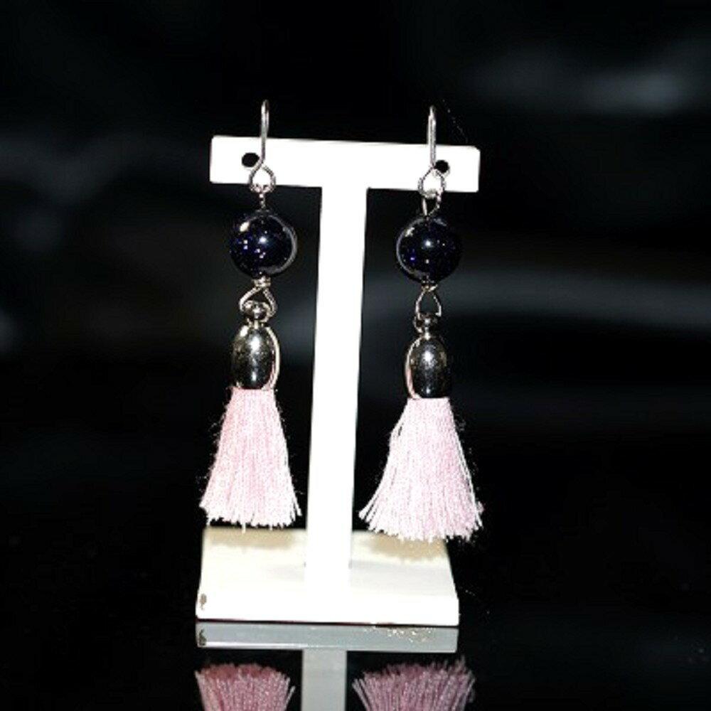 【喨喨飾品】藍砂石 流蘇式耳環 純銀飾品 S342