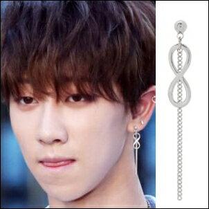 SEVENTEEN 同款韓國노엘耳飾 無限標誌吊墜長鏈耳環/耳夾耳環 (單只價)