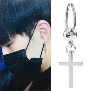 SEVENTEEN 同款韓國리스크耳飾 簡約十字吊墜鈦鋼圓環耳環 (單只價)
