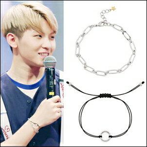 SEVENTEEN 同款韓國차드手鏈 扁環銀手鍊 · 圓環手繩手環