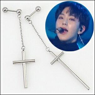 SEVENTEEN 同款韓國노아耳飾 簡約帶鏈長十字耳環 (單只價)
