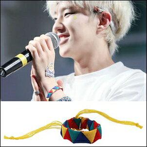 SEVENTEEN 同款韓國로모트繽紛三角色塊縫織布手環手鍊