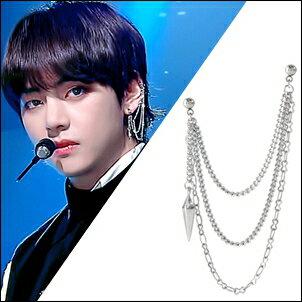 防彈少年團BTSV泰亨同款韓國트릴耳飾尖錐長鏈三鏈耳環/耳夾耳環(一組價)