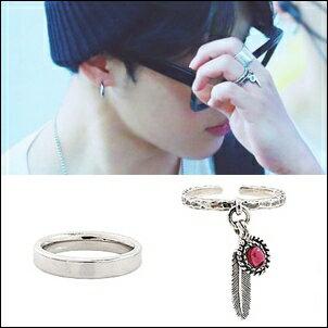 BTS防彈少年團Jimin朴智旻同款復古羽毛寶石可調式戒指/簡約鈦鋼戒指