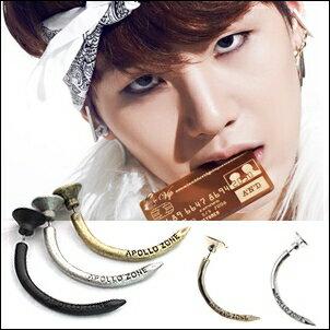 防彈少年團 BTS SUGA 同款韓國????耳飾 釘子造型圓片長彎角耳環 (單支價)
