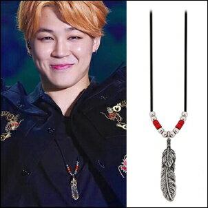 Star World 明星飾界:防彈少年團BTSJimin同款韓國펠릭스項鏈復古羽毛串珠皮繩項鍊
