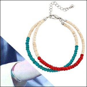 BTS SUGA 同款韓國패트리셔 復古紅綠木珠雙層手鍊手環