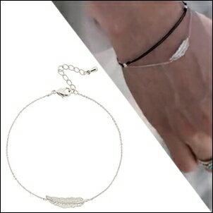 BTS SUGA 同款韓國렉스 羽毛墜鑲鑽細緻銀手鍊手環