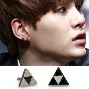 BTS SUGA 同款韓國트라이체스 對比色三角棋盤造型耳環 (單只價)
