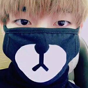 BTS V 同款韓國곰돌이 블랙마스크維尼熊造型口罩