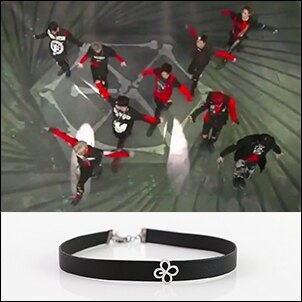 EXO Monster 同款韓國???項鏈 花型標誌鏤空皮革短項鍊