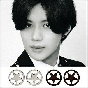 SHINee 泰民 同款韓國써지컬스타 簡約五角星圓耳釘耳環 (一對)