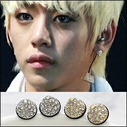 Star World 明星飾界:【特價】B.A.P大賢同款精緻圓錐體鑲鑽耳釘耳環(單支價)