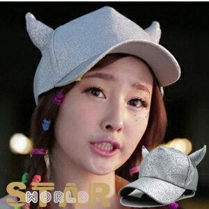 Star World 明星飾界:【特價】2NE1DARAF(X)MissA同款皮質亮面牛角造型帽