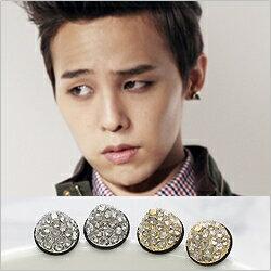 【 特價 】 BIG BANG 權志龍 同款精緻圓錐體鑲鑽耳釘耳環 (單支價)